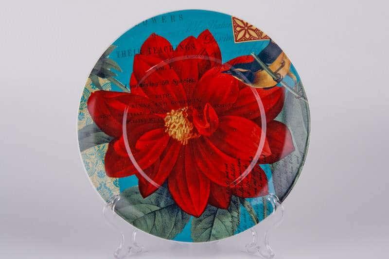Красный цветок  Тарелка из керамики Waechtersbach 21 см