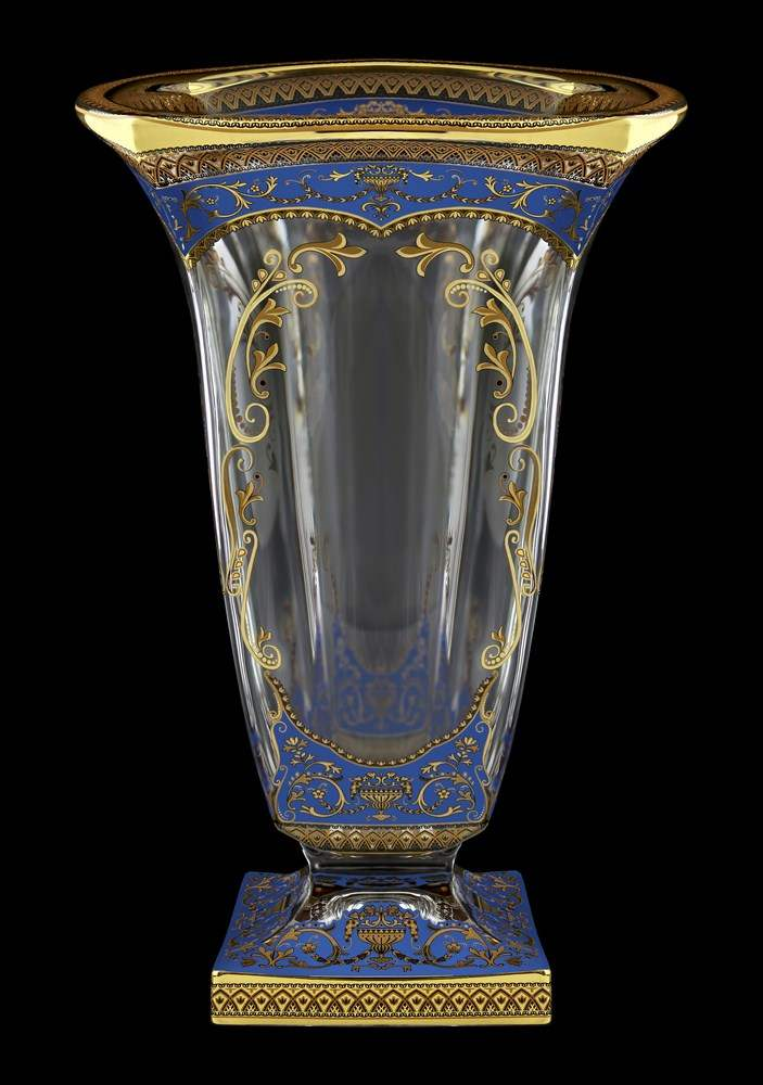 Ваза для цветов 33 см Магма Империя синяя