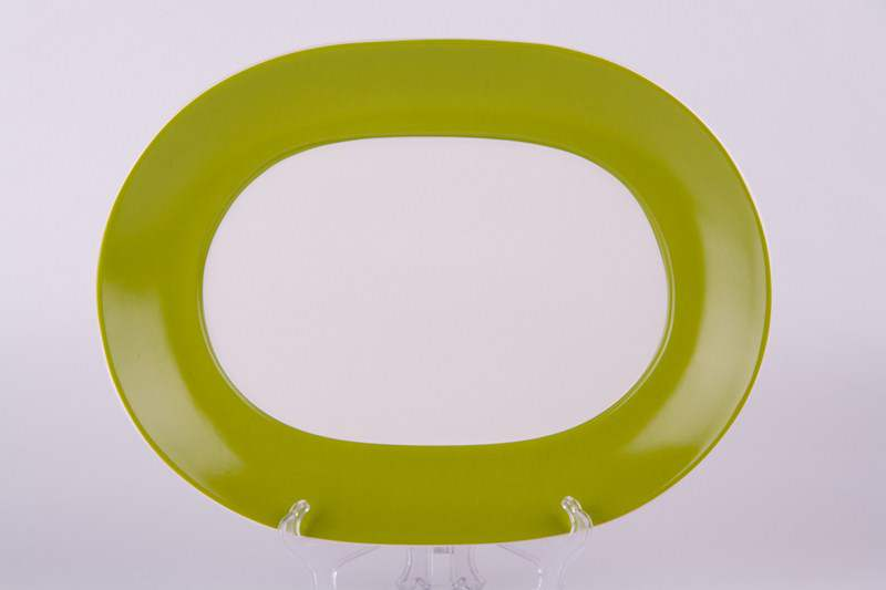 Тарелка из керамики Waechtesbach зеленая  33 см