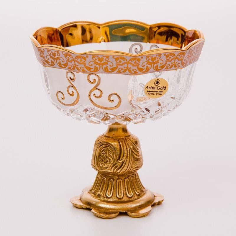 Ваза для конфет 12 см Венус на золотой ножке