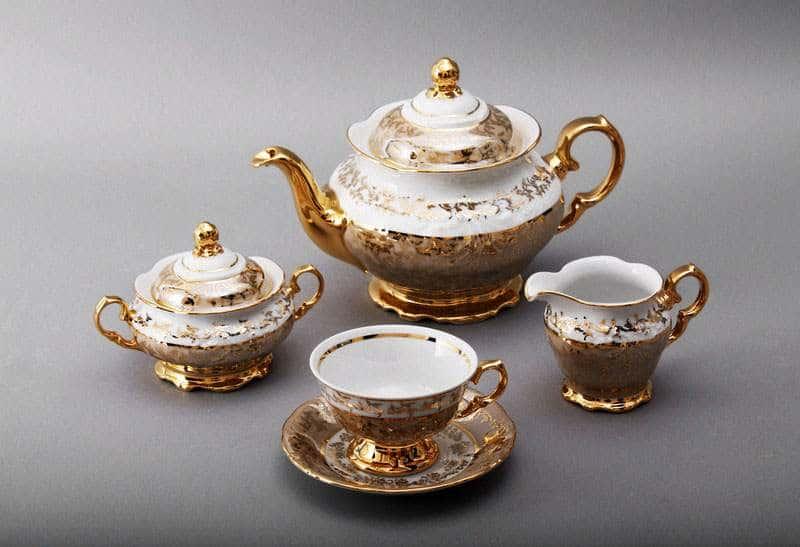 Лист бежевый Сервиз чайный Bavarian на 6 персон 15 предметов