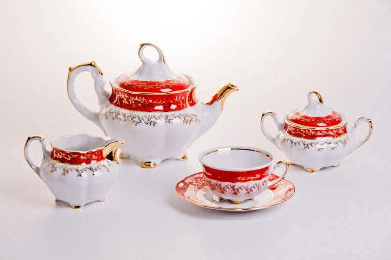 Мария - Лист красный Сервиз чайный Bavarian на 6 персон