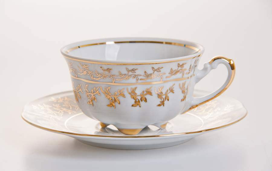 Мария - Лист белый Набор для чая (чашка 200мл+блюдце) на 6персон