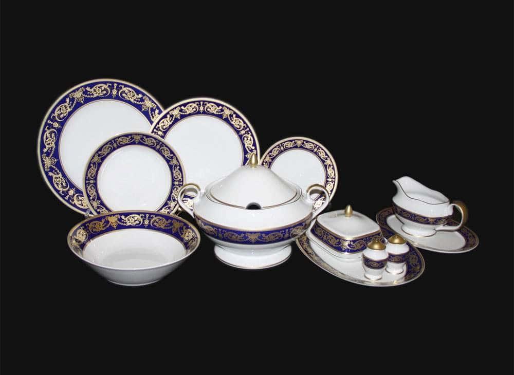 Александрия Кобальт с золотом Сервиз столовый Bavarian на 6 персон 27 предметов