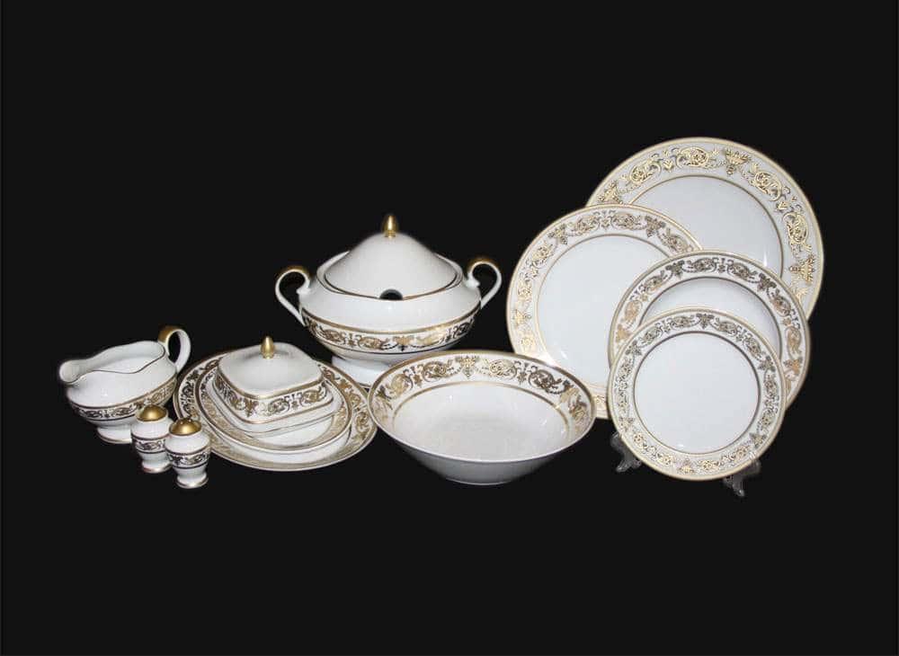 Александрия Голд белый Сервиз столовый Bavarian на 6 персон 27 предметов