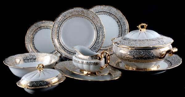 Лист белый Сервиз столовый Carlsbad фарфоровый на 6 персон