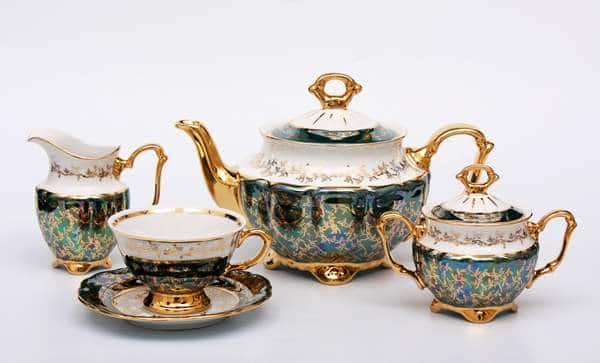 Лист зеленый Чайный сервиз Bavarian Porcelain 15 предметов