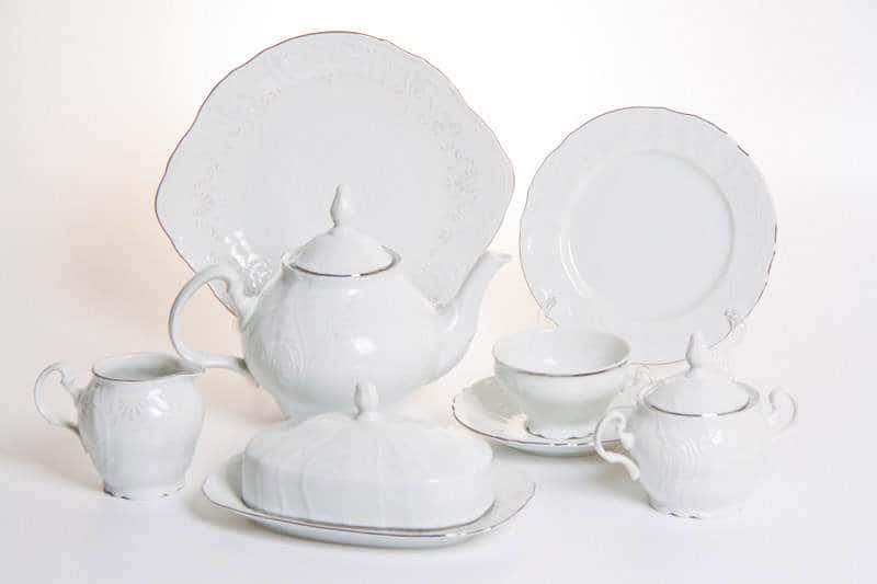 Бернадот платина 2021 Чайный сервиз на 12 персон  44 предметa