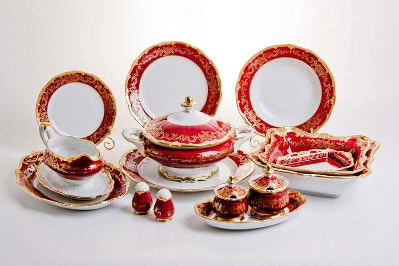 Ювел красный Сервиз столовый Weimar на 12 персон 49 предметов