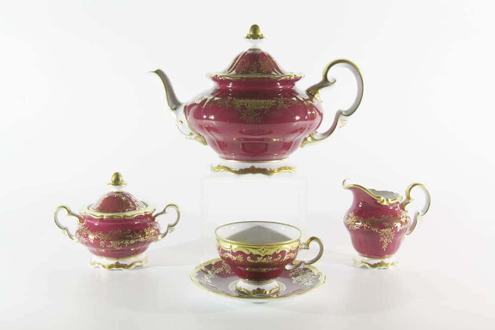 Ювел красный Чайный сервиз Weimar Porzellan 21 предмет