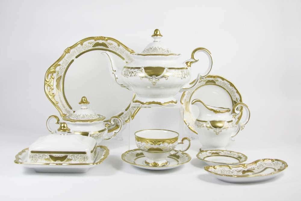 Симфония Золотая Чайный сервиз Weimar Porcelain 54 предмета