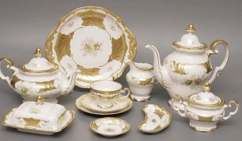 Кленовый лист белый Чайный сервиз Weimar Porcelain 21 предмет
