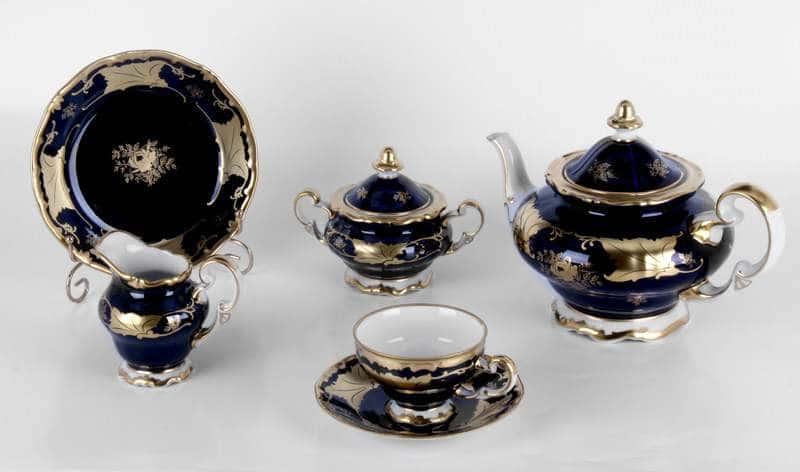 Кленовый лист кобальт Чайный сервиз Weimar Porcellan 21 предмет