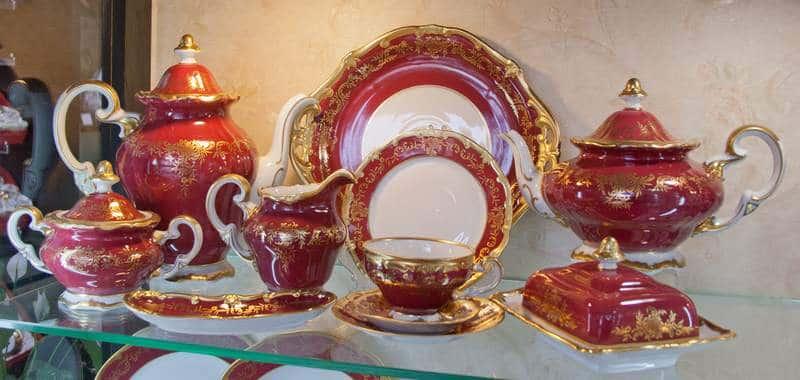 Ювел красный Чайный сервиз Weimar Porzellan 55 предметов