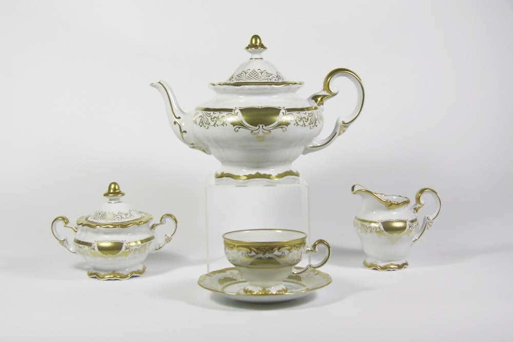 Симфония Золотая Чайный сервиз Weimar Porcellan 21 предмет