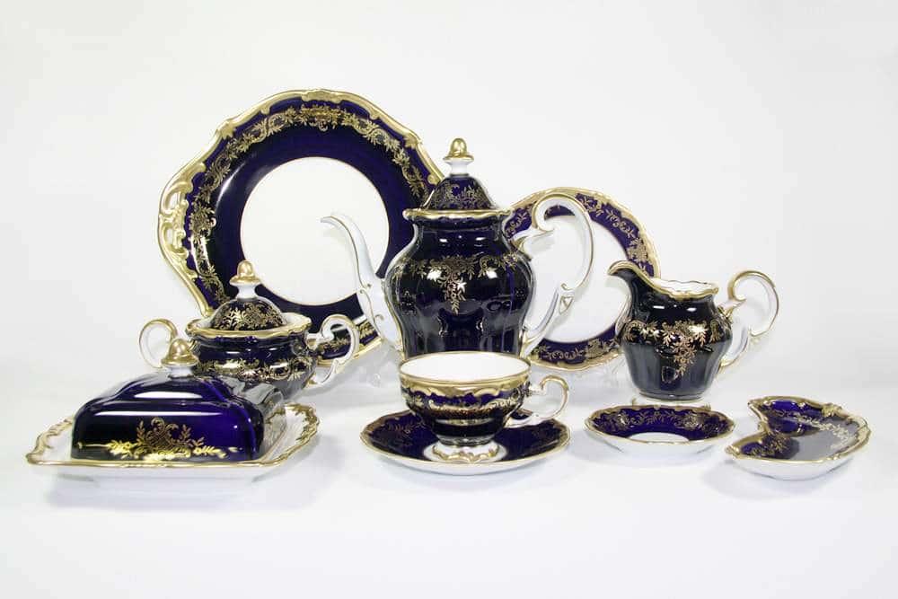 Ювел синий Чайный сервиз Weimar Porzellan 54 предметa
