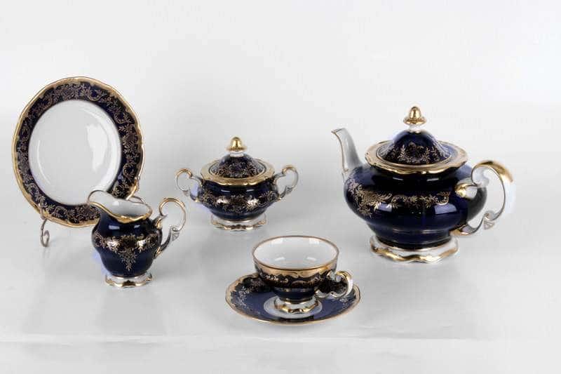 Ювел синий Чайный сервиз 21 предмет Weimar Porzellan