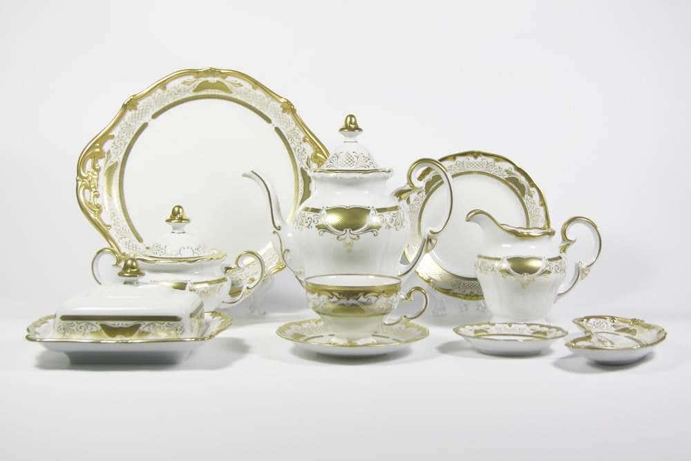 Симфония Золотая Чайный сервиз Weimar Porcellan 54 предметa