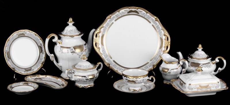 Симфония Золотая Чайный сервиз Weimar Porcellan 31 предметa