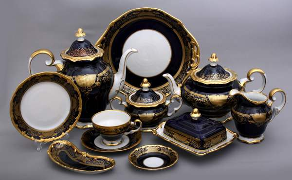 Симфония Кобальт Чайный сервиз Weimar Porzellan 54 предметa