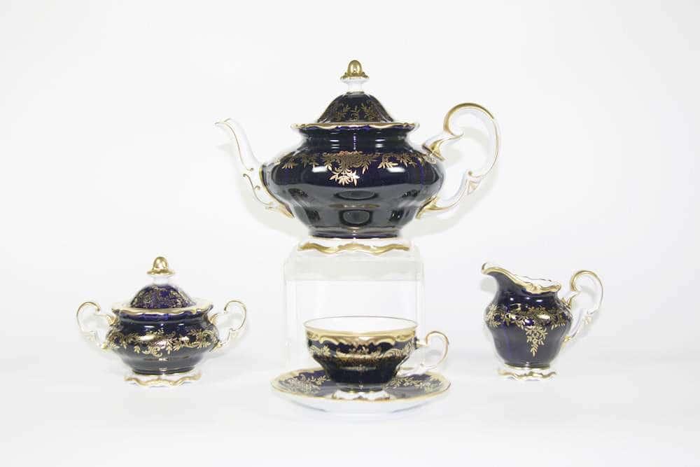 Ювел синий Чайный сервиз Weimar Porcellan 21 предмет