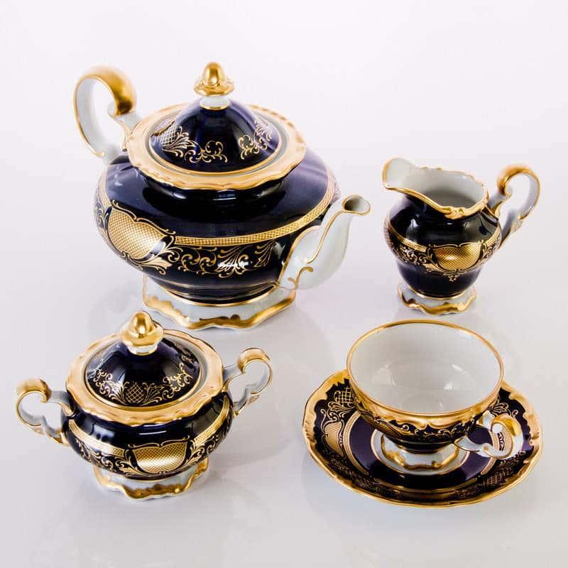 Симфония Кобальт Чайный сервиз Weimar Porzellan 21 предмет