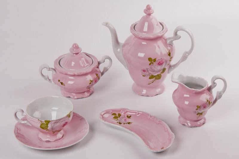 Алвин розовый Чайный сервиз Weimar Porcellan 16 предметов