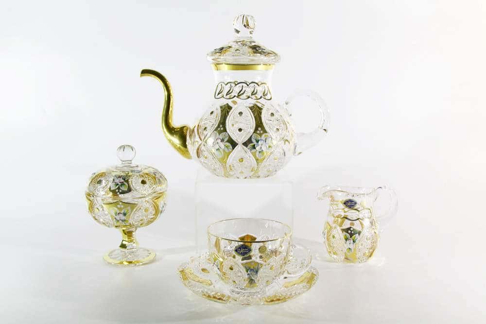 Хрусталь с золотом Чайный сервиз Jahami Bohemia 15 предметов