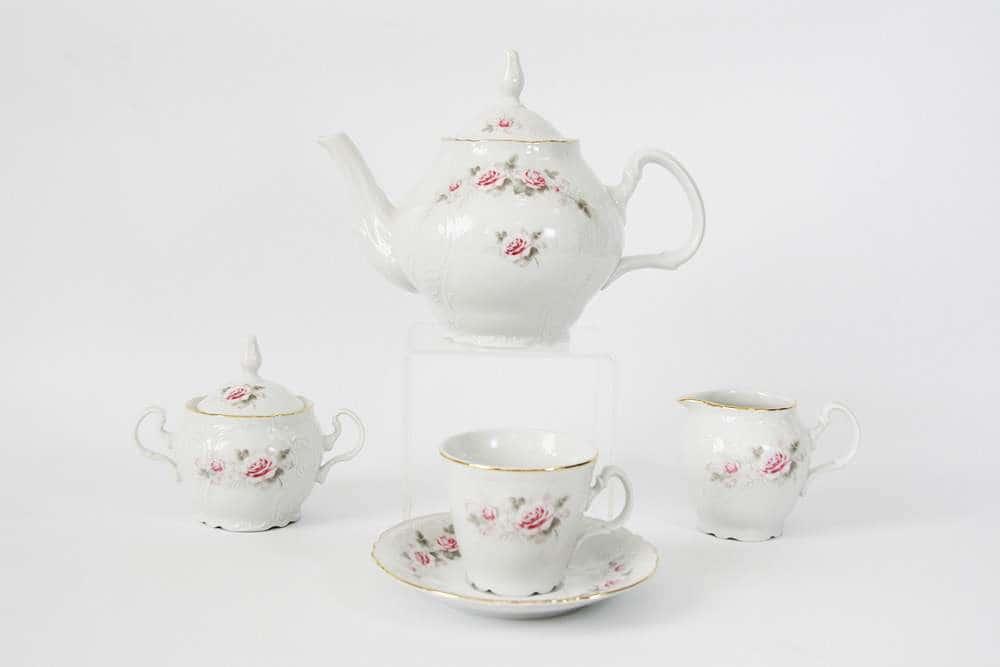 Роза серая Золото Чайный сервиз Bernadotte на 6 персон 15 предметов