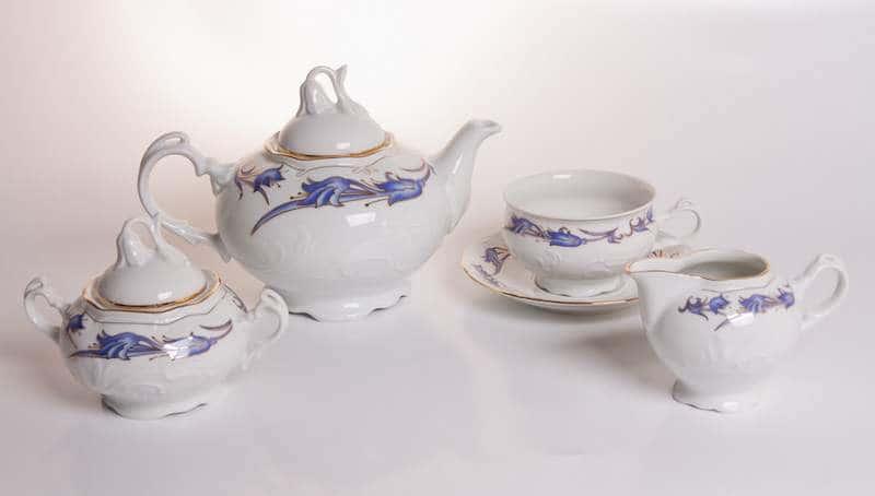 Тулип с синим орнаментом Чайный сервиз Thun 15 предметов