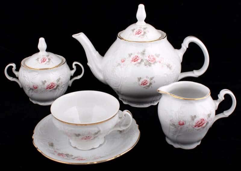 Роза серая Золото Чайный сервиз Bernadotte 15 предметов