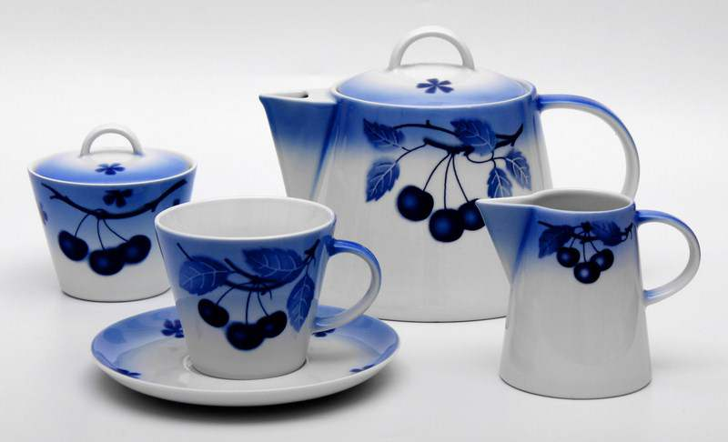 Вишни Том Чайный сервиз Thun на 6 персон 15 предметов
