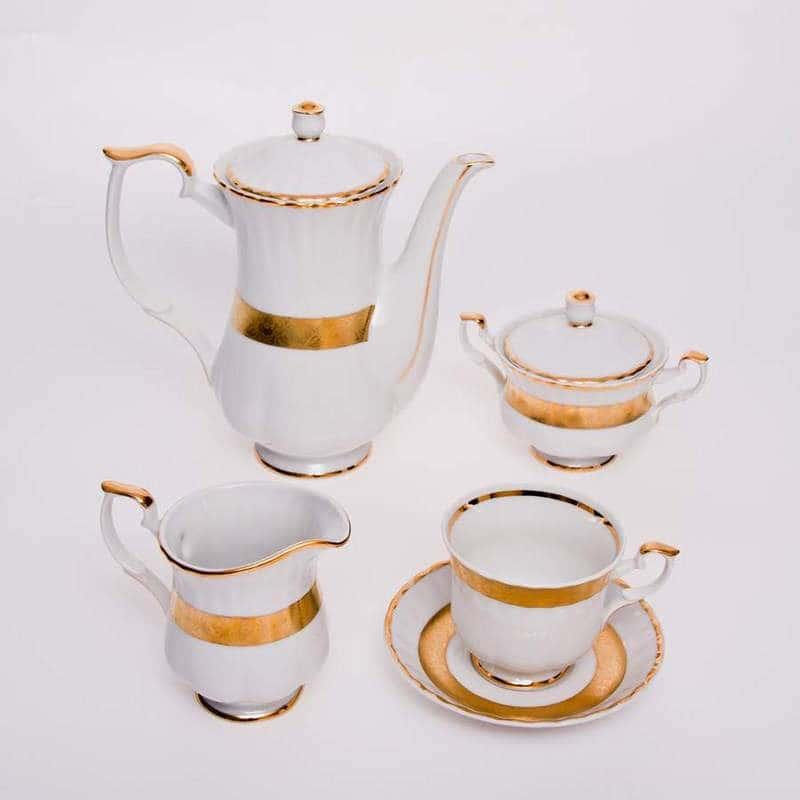 Кофейный сервиз 15 предметов Лента Рельеф золото