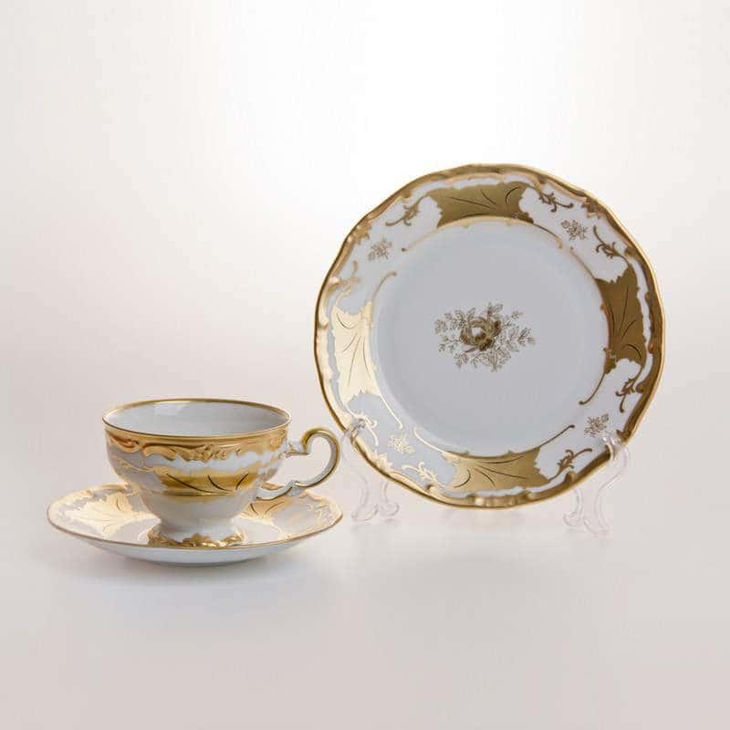 Кленовый лист белый Чайный сервиз Weimar porcellan 54 предметa