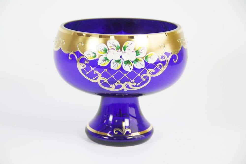 Варенница, ваза для варенья Лепка синяя 15 см