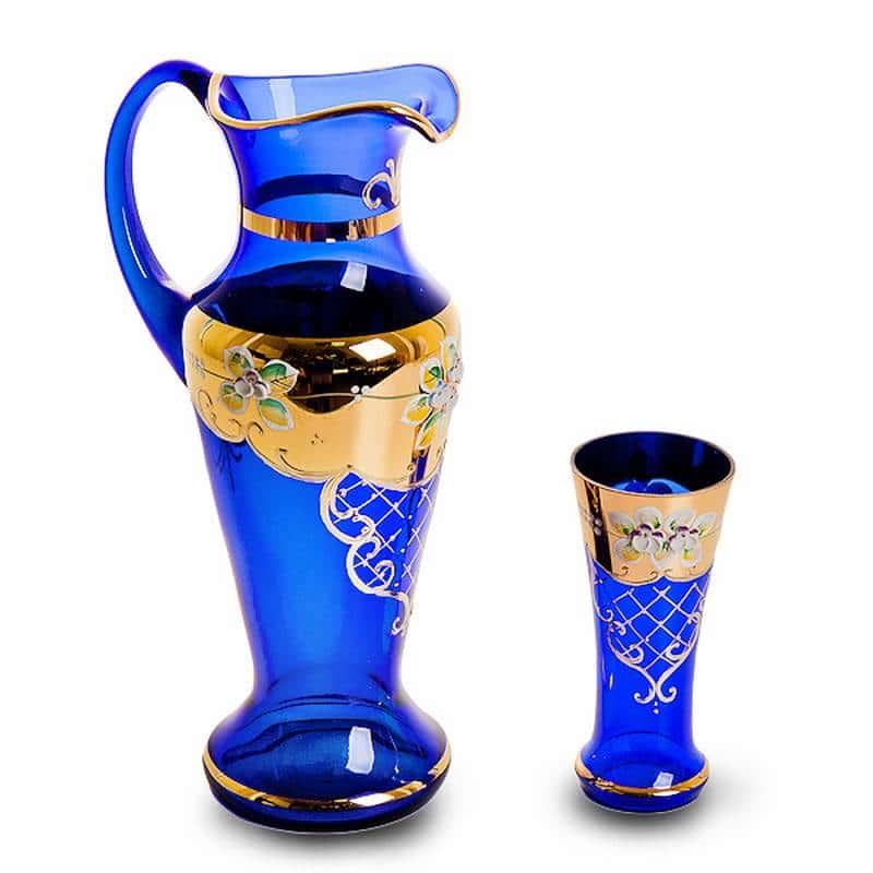 Испанский Лепка синяя Набор для воды Bohemia