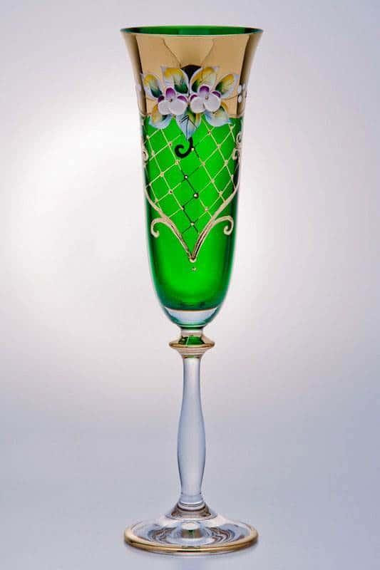 Набор фужеров для шампанского Лепка зеленая 190мл