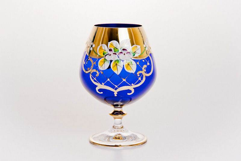 Набор бокалов для бренди Лепка синяя 400 мл