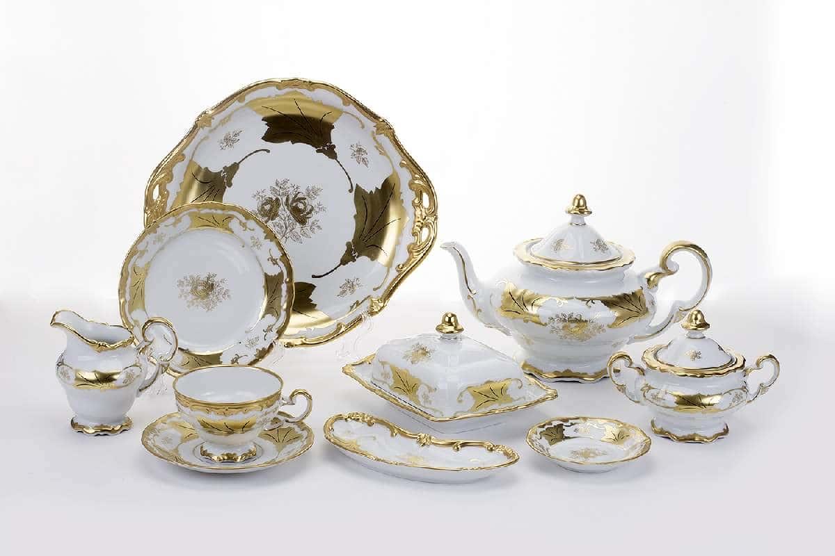 Кленовый лист белый Чайный сервиз Weimar Porcellan 30 предмет
