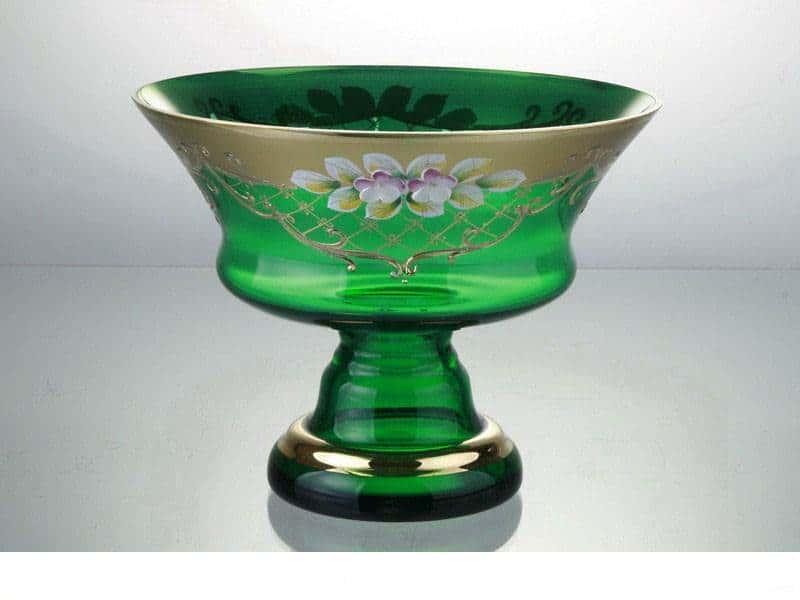 Конфетница Лепка зеленая 17 см