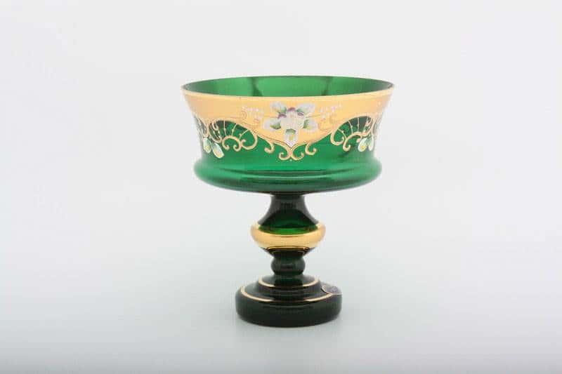 Ваза для конфет Лепка зеленая 17 см  на ножке