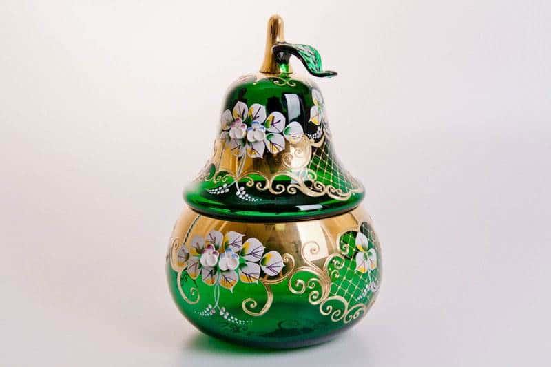 Ваза для конфет Лепка зеленая груша, большая Cerna