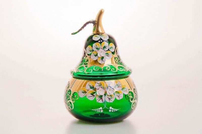 Ваза для конфет Лепка зеленая груша, маленькая Cerna