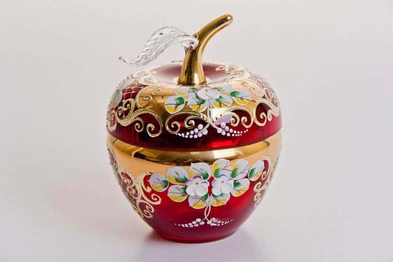 Ваза для конфет Лепка красная яблоко, маленькая