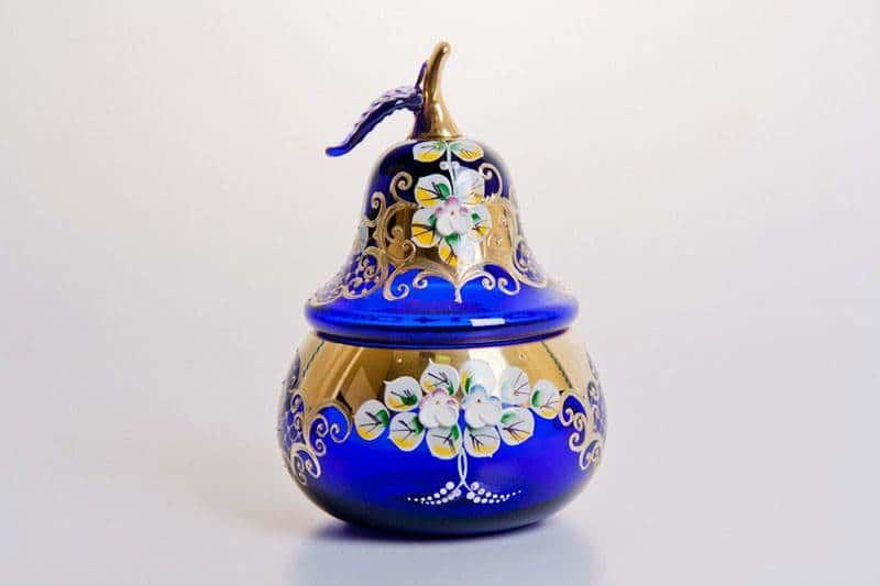 Ваза для конфет Лепка синяя груша, маленькая