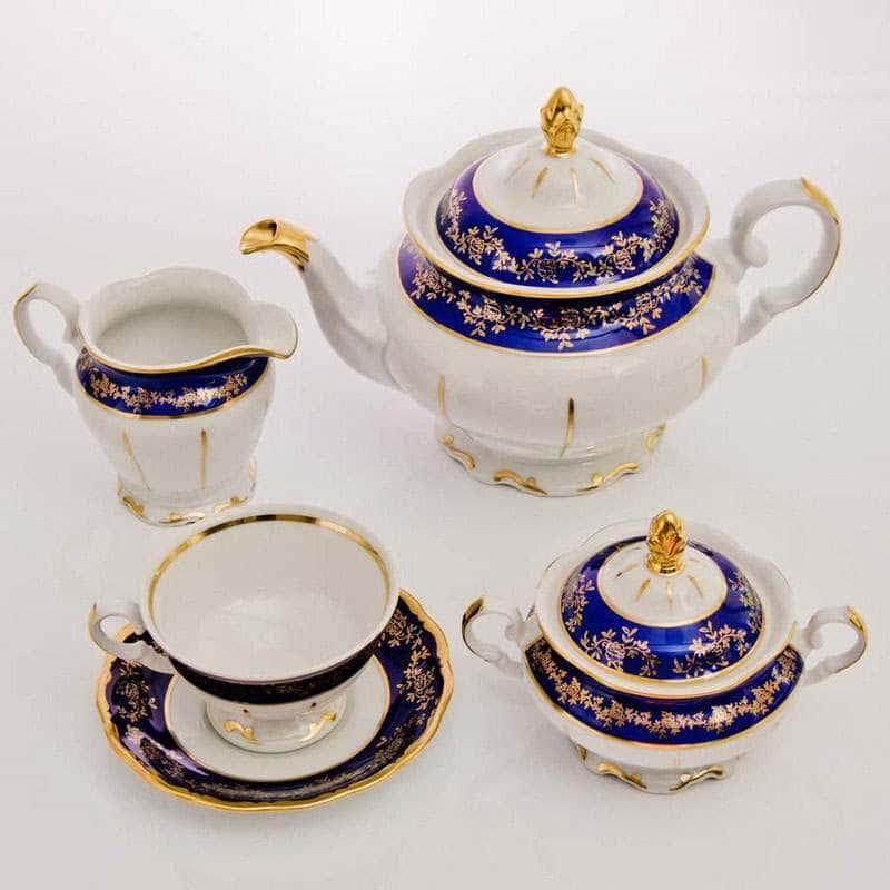 Бaрокко Кобальт-Мария Тереза Чайный сервиз Bavarian 15 предметов