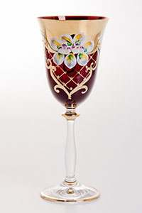 Набор бокалов для вина Лепка красная 250 мл